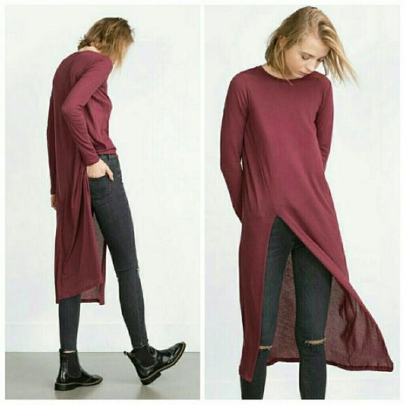 c8074c84 Zara Tops | Burgundy Long Tunic Tshirt With Side Slit | Poshmark